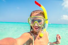 Femme avec le masque de plongée Image stock