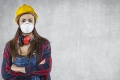 Femme avec le masque sur le visage, l'espace de copie après Photo stock