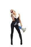 Femme avec le megafone Photos stock