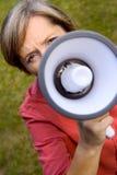 Femme avec le mégaphone Images libres de droits