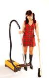 Femme avec le nettoyeur image stock