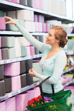 Femme avec le panier à provisions choisissant le pot de fleurs Photo stock