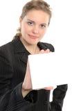 Femme avec le panneau Images stock