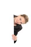 Femme avec le panneau Image stock