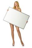 Femme avec le panneau blanc Photographie stock libre de droits