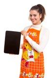 Femme avec le panneau de menu Image stock