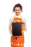 Femme avec le panneau de menu Photos stock