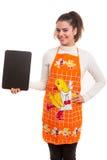 Femme avec le panneau de menu Photographie stock