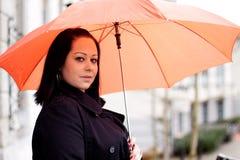 Femme avec le parapluie Images libres de droits