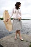 Femme avec le parapluie Images stock