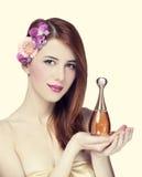 Femme avec le parfum Photos libres de droits