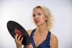 Femme avec le plat de musique Photos libres de droits