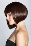 Femme avec le plomb de brunette Images stock