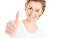 Femme avec le pouce  Photo libre de droits