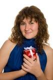 Femme avec le présent Photo libre de droits