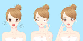Femme avec le problème de masque d'oeil Images stock