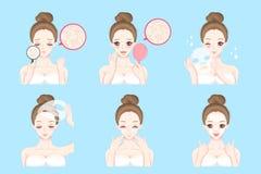 Femme avec le problème de soins de la peau illustration libre de droits