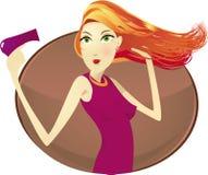 Femme avec le sèche-cheveux Photos libres de droits