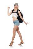 Femme avec le sac à dos d'isolement Image stock