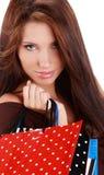 Femme avec le sac à provisions coloré Image stock
