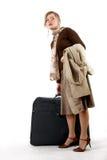 Femme avec le sac énorme Image stock