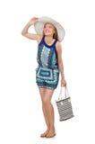 Femme avec le sac Images stock