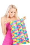 Femme avec le sac de cadeau Photo stock