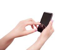 Femme avec le smartphone Photographie stock