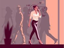 femme avec le téléphone illustration stock