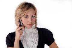 Femme avec le téléphone portable Photo stock