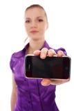 Femme avec le téléphone portable Images stock
