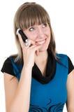 Femme avec le téléphone portable Images libres de droits