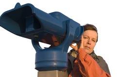 Femme avec le télescope Image libre de droits