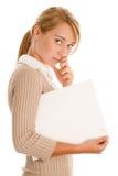 Femme avec le tableau blanc Image stock