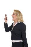 Femme avec le téléphone Photo stock