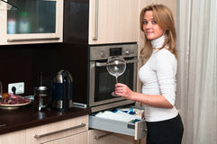Femme avec le verre à vin Photo stock
