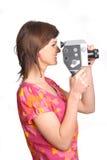 Femme avec le vieil appareil-photo de film Image stock