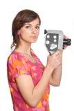 Femme avec le vieil appareil-photo de film Photo stock