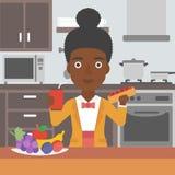 Femme avec les aliments de préparation rapide illustration libre de droits