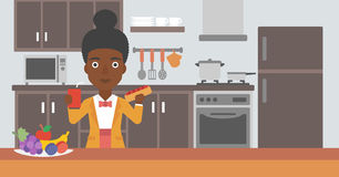 Femme avec les aliments de préparation rapide illustration stock