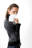Femme avec les cartes vierges Photos stock