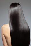 Femme avec les cheveux brillants longtemps droits Photographie stock