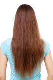 Femme avec les cheveux bruns longtemps droits d'isolement sur le blanc Photos stock