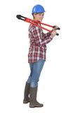 Femme avec les coupeurs de boulon rouges Photo stock