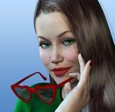 Femme avec les glaces en forme de coeur Photographie stock libre de droits