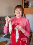 Femme avec les harengs salés dans des mains Photographie stock