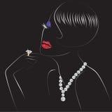 Femme avec les lèvres brillantes Image libre de droits