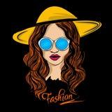 Femme avec les lunettes et l'illustration de chapeau illustration de vecteur