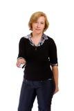 Femme avec par la carte de crédit Image libre de droits