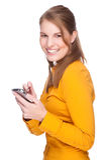 Femme avec PDA Photos stock